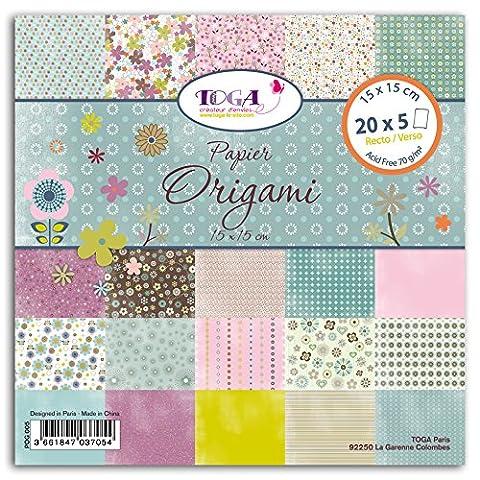 Toga POG005 1001 Fleurs Lot de 100 Feuilles origami Papier Multicolore 15 x 15 x 1 cm