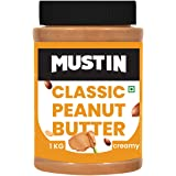MUSTIN Classic Peanut Butter 1 Kg High in Protein Dairy Free Peanut Butter , Contains Healthy Fats , Boosts Heart Health ,Red