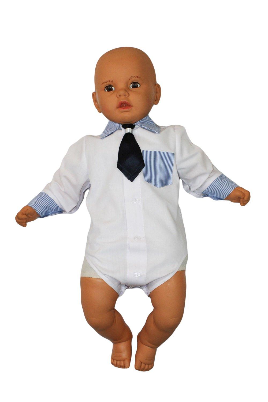 Camisa bebé niño niños Bautizo Body Camisa Boda Traje Body, 2piezas, de color blanco azul KB2 3