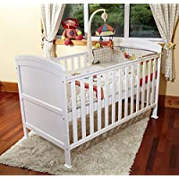 POPPY'S PLAYGORUND NEW BABY PENELOPE LUXURY COT BED & SAFETY FOAM MATTRESS-COTBED/JUNIOR BED - WHITE