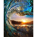 BOSHUN Paint by Numbers Kits with Brushes and Acrylic Pigment DIY Canvas Painting for Adults Beginner- Sunset Seascape 16 x 20 inch(Without Frame)