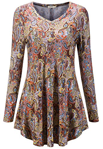 KorMei -  T-shirt - Tunica - Basic - Maniche lunghe  - Donna Braun&Gelb