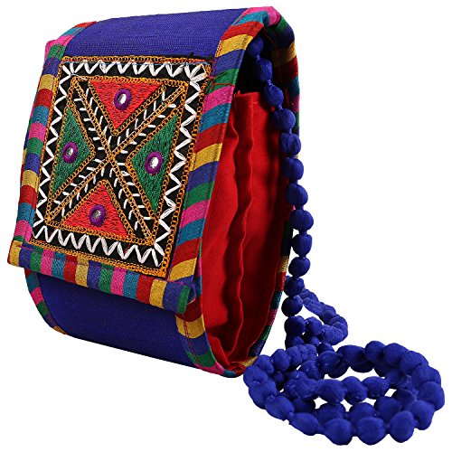 Craft Trade Handmade Blue Designer Embroidery Worked Hand Bag for Women