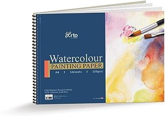 Campap ARTO Wire-O Watercolour book 100% Cellulose Cold Pressed Paper - 300 gsm - A4 size (12 sheets)
