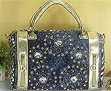 WanJiaMen'Shop Borsetta donna denim lavaggio trapano cintura donna moda borsetta borsa cilindrica, 34x13x22cm, oro