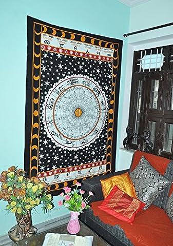 Rot und Schwarz Sternzeichen Horoskop Tapisserie Indische Astrologie Hippie Wand Hängende Ethnische Dekorative Kunst Keltische Tierkreis Tapisserie 85x55