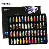 Hapree 48 Glitter Jars 3D Nail Art Decoration Glitter Powder Lentejuelas Set para el pelo de la cara del cuerpo del arte del clavo de la mano del arte del libro de recuerdos invitación del partido DIY Slime Making
