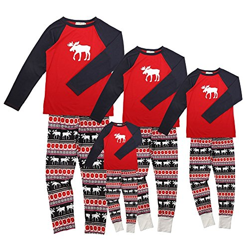 c0030c989a Pijamas de Navidad Familia Conjunto Pantalon y Top Fiesta Manga Larga  Trajes Navideños Reno Pijama Dos