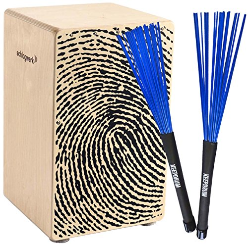 Schlagwerk CP107 X-One Fingerprint Cajon + KEEPDRUM SV603BL Brush Besen