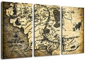 Middle-earth carte du monde, seigneur de l'image des anneaux, toile de 3 pièces (Total Taille: 120x80 cm), d'impression d'art de haute qualité comme une fresque. Moins cher qu'une peinture à l'huile! ATTENTION NO affiche!