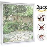 Fliegengitter Fenster 2-er Set 150*180cm Zuschneidbar ohne Bohren Klebmontage | Weiß Durchsichtig | Insektenschutz Fliegenvorhang Moskitonetz
