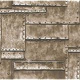 XMQC*10M 3D únicas Gris Beige Vintage plancha metálica oxidada parche Club/bar papel tapiz