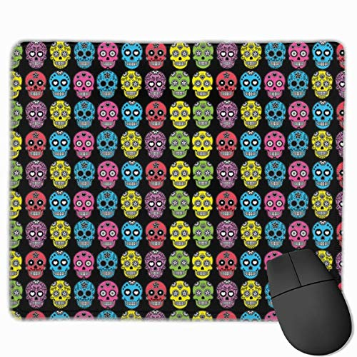 Halloween Mexican Sugar Skull Personalized Design Mauspad Gaming Mauspad with Stitched Edges Mousepads, Non-Slip Rubber Base, 300 x 250 x 3 mm Thick - Best Gift Idea