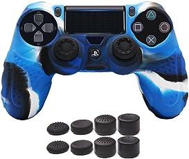CHIN FAI PS4 Controller Schutz-Hülle,Silikon Anti-Rutsch 8 Daumen Griffe Skin Grip Schutzhülle für Sony PS4 / Slim/Pro Controller(Camouflage Blau)