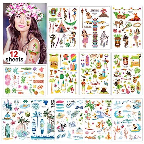 Konsait 12 Blätter Sommer Strand Schwimmbad Hawaii Luau Themen Temporäre Tattoos Tätowierung Wasserdicht Körper Tattoos Aufkleber für Kinder Frauen Männer, Tropische Party Dekoration