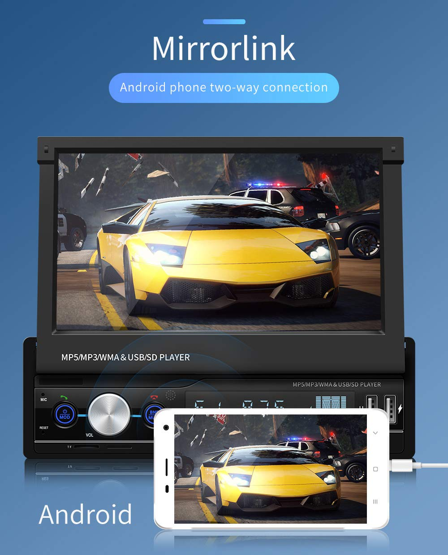 Gfyee-2-Din-Autoradio-Ausfahrbares-Display-7-HD-Digitaler-TFT-Touchscreen-MP5-Multimedia-Player-Untersttzung-RckansichtTF-KarteAUXUSB-mit-FernbedienungRckkameraLenkradsteuerung