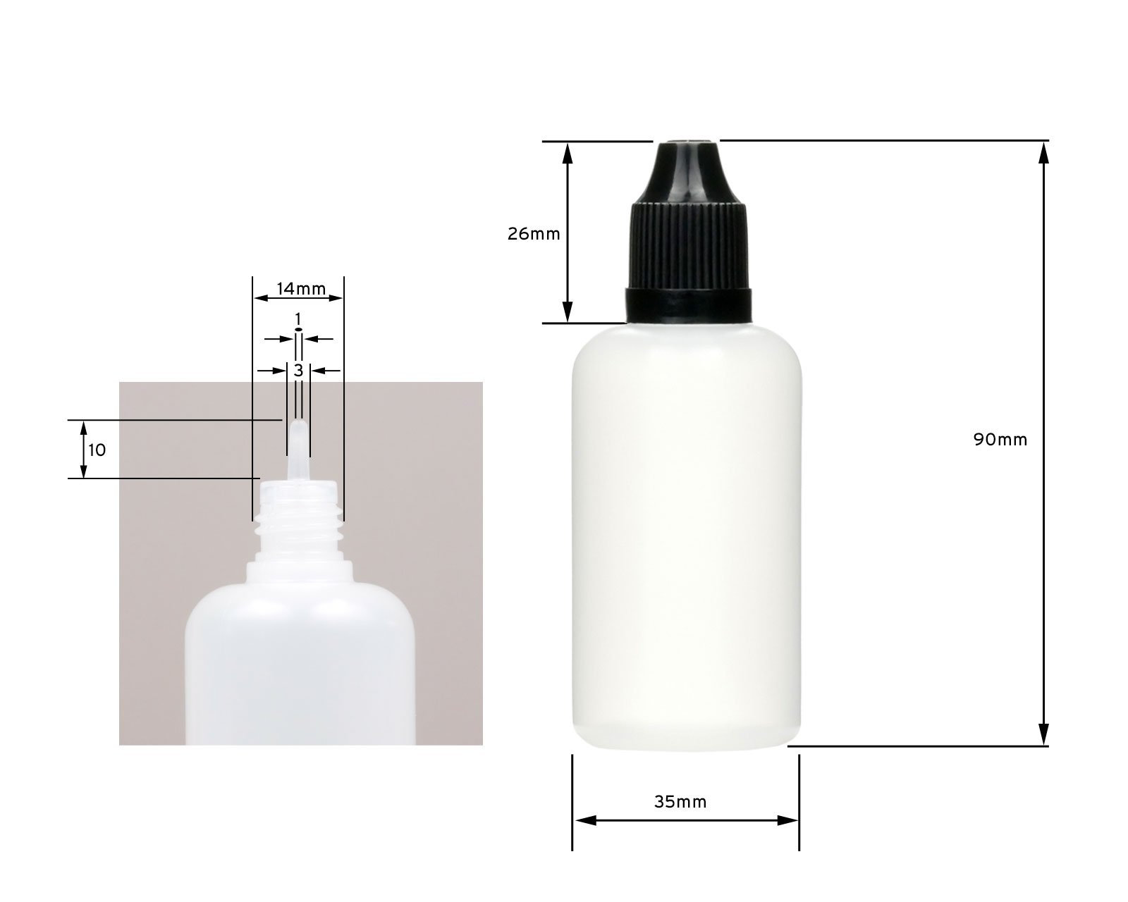 10 x 50 ml liquid bottles with funnels + labels: for e-liquids, e-cigarettes, plastic bottles made of PE LDPE, dosing bottles, dropping bottles or squeeze bottles + white lids with child safety lock 5