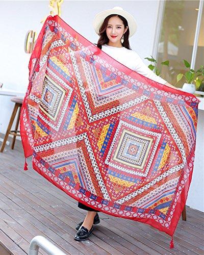 Écharpe Femme Grand Chale Tissu Glands Foulard Écharpe Etole D'Impression ChâLe Foulard Wrap Rouge