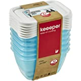 keeeper Food Containers, Set of 6, Freezable, Labelled Lid with Rewritable Surface, 6 x 250 ml, 10.5x7.5x6 cm, Mia Polar, Tra