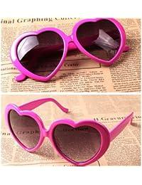 Generic Fashion Cute Oversized Heart-Shaped Plastic Frame Retro Sunglasses Eyeglasses(Hot Pink)