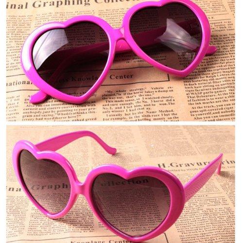 Generisches Modern Nette Oversized Herz Shaped Kunststoff Rahmen Retro Sonnenbrille Brillen (rosa)