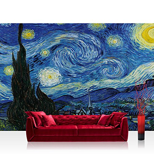 Papel-Pintado-Fotogrfico-Premium-Plus-fotogrfico-pintado–cuadro-de-pared–cuadro-pintado-Estrella-Noche-Vincent-Van-Gogh-Pintura-al-leo-Paisaje-Pintura-Sinttica-Azul–No-2660