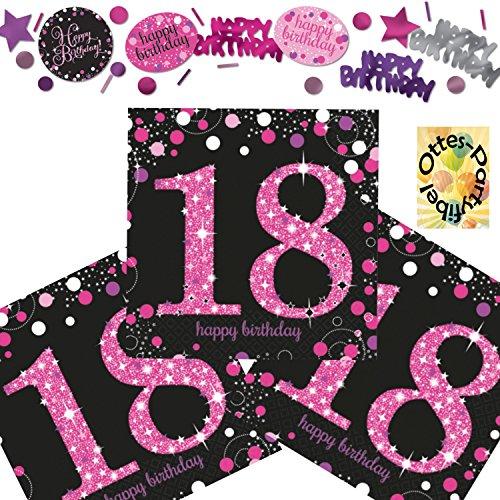HHO Sparkling 18. Geburtstag 18 Jahre Servietten + Streudeko Konfetti schwarz-pink-lila