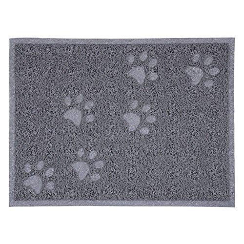 Xigeapg Quadratisch PVC Tischset Hund Welpen Haustier Fuetterung Katze Schuessel Schuessel Essen Wassermatte Wischen sauber grau -