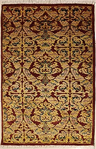 91x152 Ziegler Chobi Design Area Rug with Wool Pile | 100% Original Hand-Knotted in Reddish Brown,Beige,Blue colors | a 91 x 152 Rectangular Double Knot Chobi Ziegler Rug made with Vegetable dyes