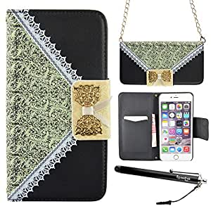 6 Plus, iPhone 6 Plus Case, Speedtek Bow Lace Fashion Premium PU leather Wallet Flip Feature Case with Magnetic Closure & Useful Strap for Apple iPhone 6 Plus 5.5 (2014) (Built-in Credit Card/ID Card Slot) - Black