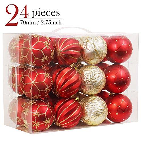 Valery Madelyn 24-tlg 7cm Weihnachten Luxuriöse glänzend glitzernd bruchsicher Weihnachtskugeln in Rot und Gold,Weihnachten Deko Anhänger inkl. 24 Metallhaken,Themen mit Baumrock (nicht inkl.)