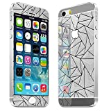 RVR 3D Diamond Pattern Zig Zag Mirror Front + Back Tempered Glass Screen Protector for Apple Iphone 5 / 5S - Silver Color By Rajat Enterprises