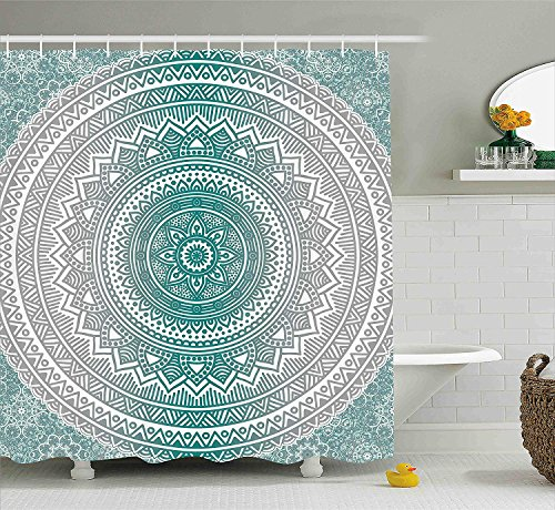 BUZRL Grey and Teal Shower Curtain, Mandala Ombre Design Sacred Space Geometric Center Point Boho Meditation Art, Fabric Bathroom Decor Set with Hooks, 60x72 inches Extra Long, Grey Teal
