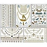 ChicTats Brillantes tatuajes temporales de color metálico dorados y plateados - Arte corporal llamativo y joyería para mujeres y chicas – Maquillaje corporal/adhesivos/tatuajes de moda resistentes al agua – Pack de 5 hojas – Lo que ves en la imagen es lo que obtendrás
