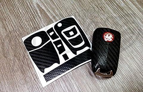 Black Carbon Fiber Key Sticker Decal Wrap Overlay Vauxhall Opel Astra Zafira B Corsa Vectra Antara GTG