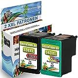 2er Set Druckerpatronen Ersatz für Hp 1x 338 XL + 1x 343 XL black 22ml + color 21ml Ersatz für Hp c8765ee + Hp c8766ee (hp338xl , hp343xl hp 338 xl ,hp 343xl) , schwarz, bk, farbig