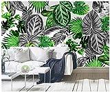 HONGYAUNZHANG Schwarz Und Weiß Pflanze Blätter Benutzerdefinierte Fototapete 3D Stereoskopischen Wandbild Wohnzimmer Schlafzimmer Sofa Hintergrund Wandbilder,260Cm (H) X 340Cm (W)