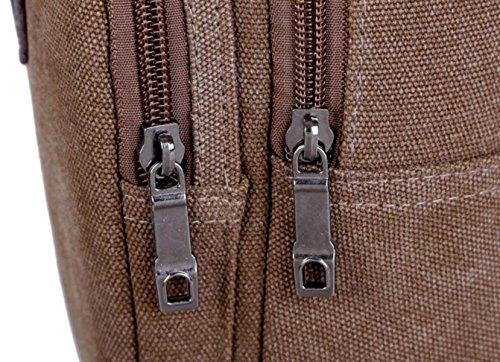 FZHLY Mann-Segeltuch-Kasten-Beutel-beiläufige Diagonal Umhängetasche,Brown ArmyGreen