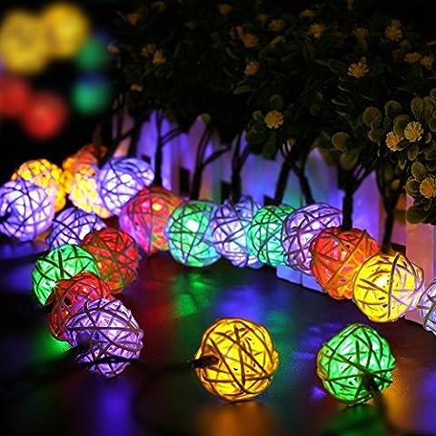 BlueFire Rattan Lichterkette Solar , 20 LEDS 15,7ft 2Modes Außen Lichterketten Solar Lampions Wasserdicht Weihnachtsbeleuchtung für Gärten Häuser Outdoor (Bunt)