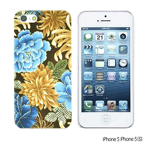 OBiDi - Flower Pattern Hardback Case / Housse pour Apple iPhone SE / Apple iPhone 5S / 5 - Multicolor Floral Shapes Gold Chrysanthemum