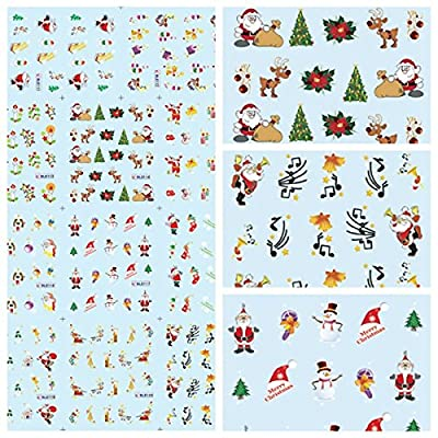 Bluelover Christmas Santa Schneemann Nail Art Sticker Water Transfer Aufkleber