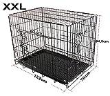 Jaula para perros, de metal, 2puertas para transporte de cachorros, plegable, negra XXL (122x76x84,5)