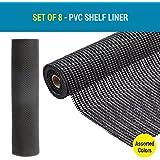 Tied Ribbons Anti Slip Shelf Liner Mat For Fridge Bathroom Kitchen Drawer Shelf Liner Cupboard Underlay Household-Set Of 8 Rolls(Each Role Size-30 Cm X 90 Cm,Black)