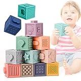 E-More Giochi Neonato 0-12 Mesi Impilabile cubi Bambini , 12 PCS Blocchi per Primi Neonato Dentizione Giocattoli da Masticare