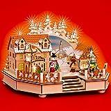 Sikora, SD02, carillonilluminato XXL, in legno, paesino innevato di Natale, con musica O Tannenbaum (lingua italiana non garantita)