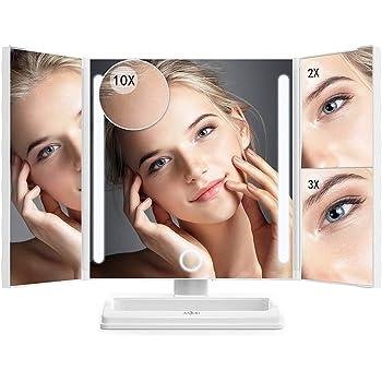 Anjou Miroir Maquillage 24 LED Lumineux 360° Ajustable Miroir Grossissant 1X / 2X / 3X /10X, Pliable Miroir de Maquillage Triple avec Bouton Tactile & Stand Cosmétique, Batterie et Charge USB