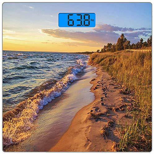 Precision Digital Body Weight Scale Küsten Ultra Slim gehärtetes Glas Personenwaage Genaue Gewichtsmessungen, Sandy Calm Beach Ocean Waves Ruhige Küste untergehende Sonne, Orange Marigold Red
