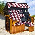 Strandkorb BALTIC-R BUW XXL, anthrazit, rot-weiß gestreifter Bezug, von LILIMO
