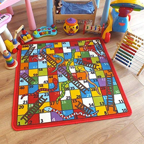 Superb Kids/Childs Rug Snake & Ladders Play Mat 1m x 1m (3'3 x 3'3 approx) by The Good Rug Company
