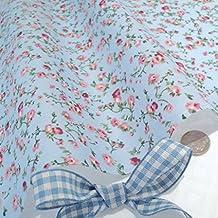 MOLLY - Tela azul de polialgodón con diseño de flores rosas diseño Vintage de flores - por metro - CR8 Comercio